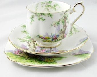 "Royal Albert ""Greenwood Tree"" Trio, Tea Cup, Saucer, and Plate, Teacup, Gold Trim, Vintage Royal Albert"