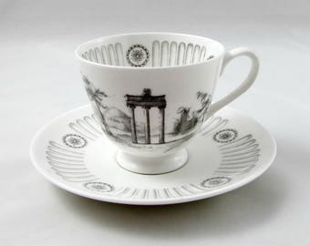 """Vintage Tuscan Tea Cup and Saucer,""""Olympus"""" Greek Pattern, Ancient Greece, Fine English Bone China"""