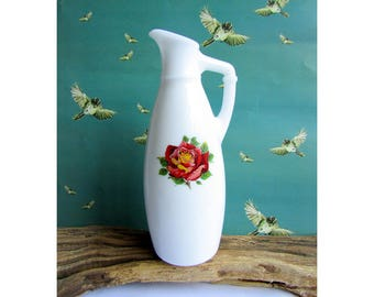 Italian vintage milk glass pitcher style bud vase with red rose motif - perfect for a single rose - Victorian style vase