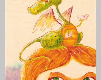 The Bookworm - Fun Dragon Print