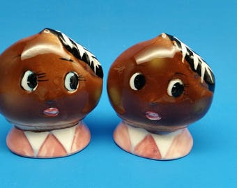 RARE PY Anthropomorphic Potato Head Salt and Pepper Shakers, Py Japan Shakers