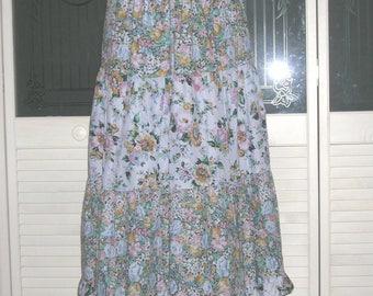 Vintage 70s Hippie Ruffled Gypsy Skirt Floral Indie Prairie Skirt