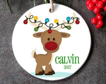 Personalized Kids Ornament with Year, Reindeer Ornament for Kids, Toddler Ornaments, Handmade Ornaments, Holiday Ornaments