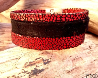 Bracelet leather cuff red and black Elektra Boho jewelry By Dodie