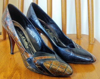 Original Vintage 80s Boxed Stiletto Court Shoes Zandra Rhodes Black & Bronze Faux Crocodile Designer Heels Pumps Size UK 5
