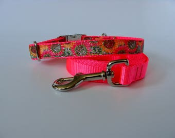 Hot Pink Sunflower Small Dog Collar - Metal Buckle - READY TO SHIP!