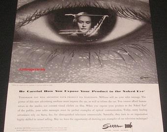 1948 Naked Eye & Television Waves, Sarra Photography, Vintage Print Ad, Valentino Sarra Photographer