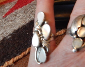 Mother of pearl, ring, size 5, SOUTHWESTERN JEWELRY, old pawn, tribal, long, sterling ring, womens jewelry, southwest jewelry, estate