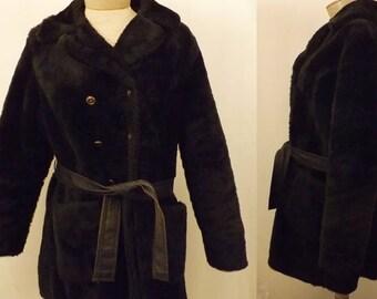 Vintage Black Faux Fur Pea Coat Size L