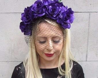 Large Purple Black Rose Flower Veil Headband Sugar Skull Goth Halloween 3624