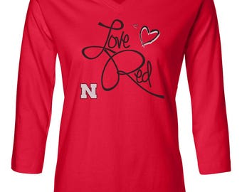 "Women's Nebraska Huskers ""LOVE RED"" Hearts 3/4 Sleeve V-Neck Premium Top - Tee Shirt - Officially Licensed Unique Cornhusker Apparel"
