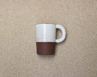 White ceramic Mug with Stripe base | One-off piece, handmade in Manchester, England | READY TO SHIP