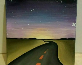 Starry Dawn Road Painting