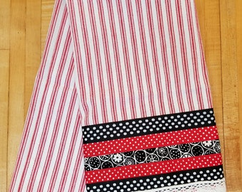 Embellished Hand Towel, Red & White Stripe Towel, House Warming Gift, Kitchen Towel, Decorated Hand Towel, One of a Kind, MarjorieMae