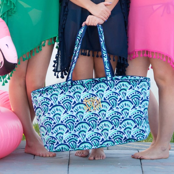 Monogrammed Tote Bag Navy and Mint Large Beach Tote Monogrammed Bag Personalized Pool Tote Summer Tote Bag Bridesmaid Gifts Weddings