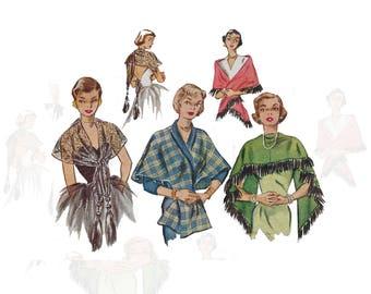 Vintage 1950s women's stole/shawl pattern, McCalls 1613, one size, fringe variations, lace, UNCUT