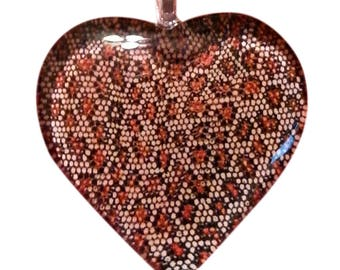 LEOPARD, Cheetah Animal Print ~ Brown and Gold HEART Shaped Glass Pendant Necklace