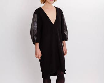 Black wool dress / Oversized V-neck woman's dress / Unusual winter woman's dress / Lagenlook black sleeves dress / Fasada 17175