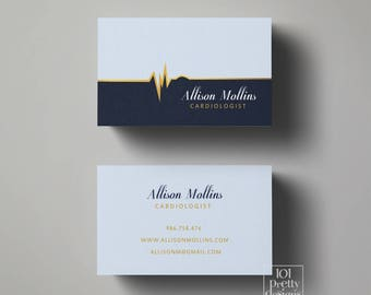 Doctor business card etsy doctor business card design medic business card blue gold printable business card design nurse business card colourmoves Images