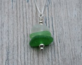 Shades of Green Edgewater Beach Glass (Lake Erie) Stacking Necklace with Sterling Silver Beads