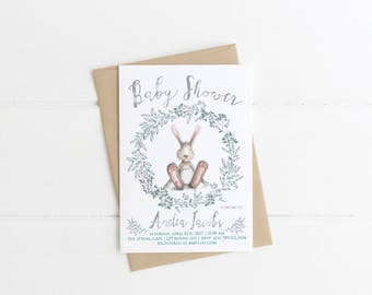 Bunny Baby Shower Invitation Printable, Bunny Rabbit Invite, Gender Neutral  Whimsical Invitations, Birthday