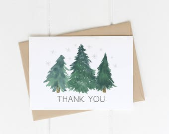 Christmas Thank You Card Printable Instant Download, Winter Stationery, Holiday Baby Shower, Thank Yous,  DIY Thanks, Green Evergreen Trees