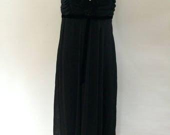 Vintage dress 90s Black evening dress by Principles with applique flowers rhinestone detail size medium