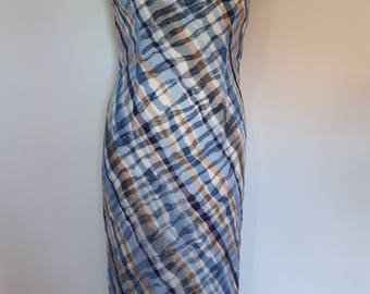 Vintage 90s maxi dress by In Wear in shades of blue taupe white size small medium