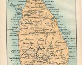 1905 Sri Lanka (Ceylon) Vintage Map