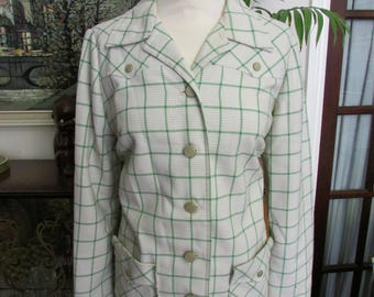Vintage handmade 1940s-style green & white check fitted jacket, size 12
