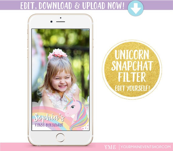 Unicorn Birthday Snapchat Geofilter Personalized Custom Unicorn Party On Demand Geo Filter For Snapchat