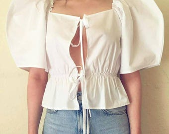 THE BERYL TOP | Handmade white cotton crop top with tie straps and oversized sleeves