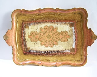 Florentine tray Italian serving tray Florentine gilded italian tray vintage  Made in Italy
