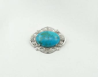Substantial Blue Turquoise and Sterling Silver Vintage Brooch/Pendant FREE SHIPPING!  #TURQUOISE-BR1