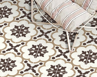 Vinyl Floor Tile Sticker - Floor decals - Genova Hand Painted Tile Sticker Pack in Greige