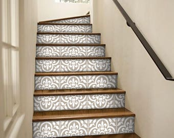 Stair Riser Stickers   Removable Stair Riser Tile Decals   Corona Pack Of 6  In Grey