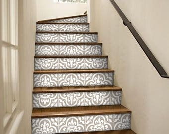 "Stair Riser Stickers - Removable Stair Riser Tile Decals - Corona Pack of 6 in Grey - Peel & Stick Stair Riser Deco Strips - 48"" long"