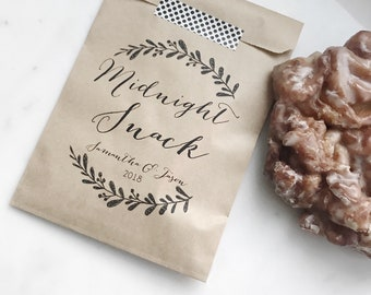 Wedding Favor - Personalized Midnight Snack Bags! Also great for engagement party or Rehearsal Dinner!