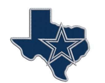 Dallas Cowboys Applique Embroidery Design in 3 Sizes - INSTANT DOWNLOAD