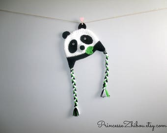 Crocheted panda hat for toddlers, knitted panda bear beanie with bamboo leaves, China animal cap for kids teens and adults