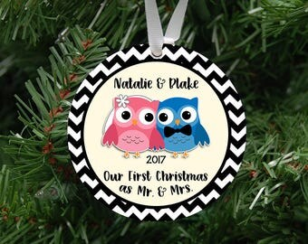 Personalized Our First Christmas as Mr. & Mrs. Owl Couple Ornament Keepsake - Custom Made to Order - 2017
