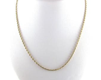 14k Yellow Gold Rope Chain Necklace - Yellow Gold Rope 18 Inches 7.5 grams