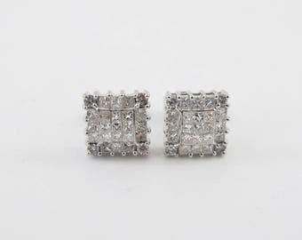 14k White Gold Diamond Stud Earrings 1.00 carat - Unisex Diamond Earrings
