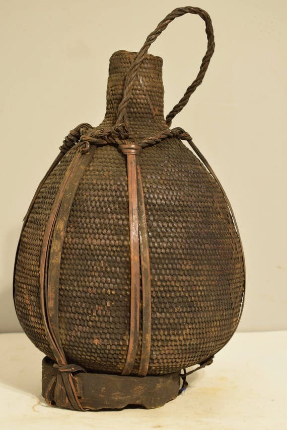 African Vintage Honey Basket Cameroon Woven Coiled Honey Bamileke Basket