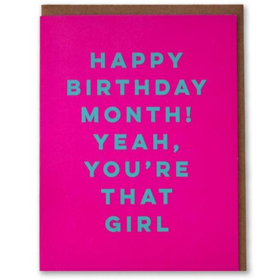 Happy Birthday Month Funny Modern Birthday Card