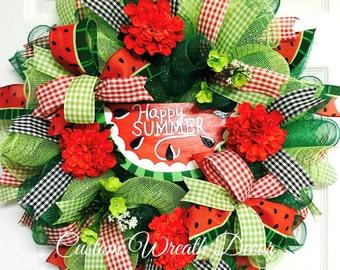 Watermelon Wreath, Summer Wreath, Happy Summer, Deco Mesh Wreath