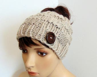 Chunky Knit Messy Bun Ponytail Hat Box Stitch Beanie with Pony Tail Hole Women's Tan Taupe Made in Alaska Wool Blend Active Winter