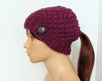 Knit Hat with Ponytail Hole - Pink - Ponytail Beanie - Gift for Her - Made in Alaska - Chunky Knit - Mommy and Me Hats- FIG