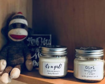 Pkg of 6 Personalized Natural Soy Candles - Baby Shower Favors