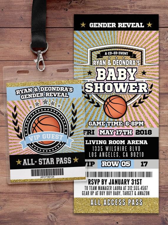 Basketball ticket Invitation, Baby Shower, All Star Birthday, VIP ...